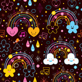 rainbows clouds hearts cartoon pattern