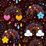 rainbows clouds hearts cartoon pattern