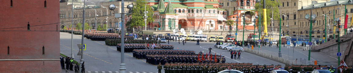 Rehearsal of military parade on Red Square Moscow, Russia