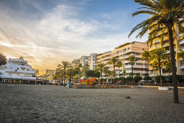 Marbella beach surprised at sunset
