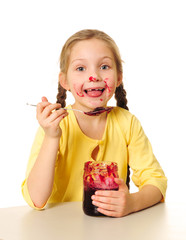 kid eating jam