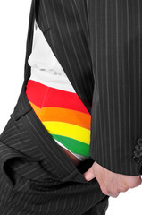 businessman with rainbow underwear