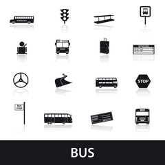 bus transport icons set eps10