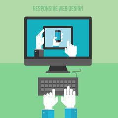 Flat design concept for responsive web design