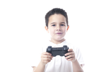 Child with game controller. Isolated on white.