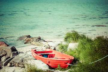 Boat on the beach, lofoten islands,Norway