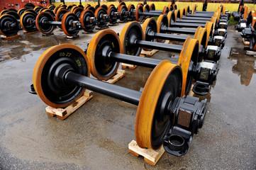 New train wheels in factory