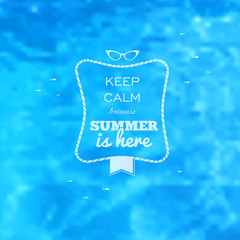 Summer card blue water pool blurry background