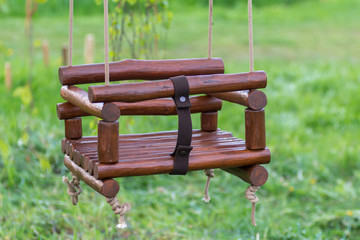 Handmade wood swing for children
