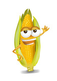 Happy corn cartoon character, smiling and waving hand.