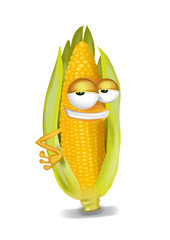 Cool, funny corn cartoon character with a big smile.