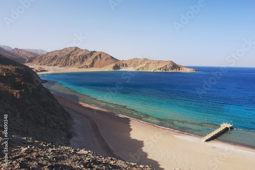 View of the Red Sea and coast Sinai in Taba, Egypt - 64690348
