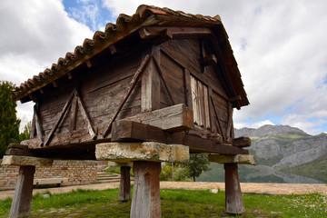 construccion tipica de la montaña, horreo de madera