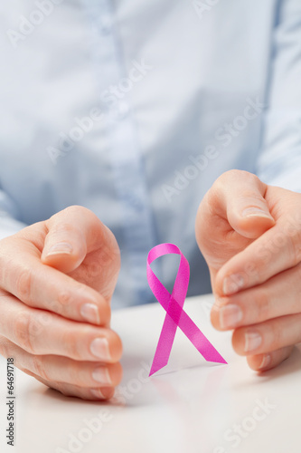 Hands and a Pink Ribbon