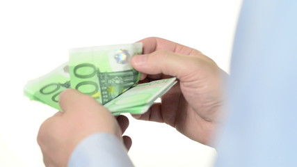 Counting money, banknotes of 100 Euros