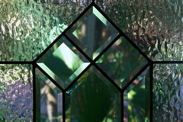 close up of beveled and textured glass