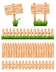 Set of wooden signs and a fences with grass. Vector.