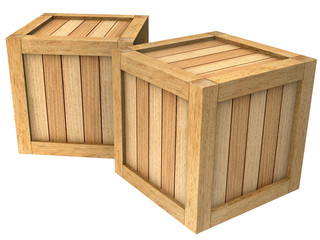 3d image two wooden boxes