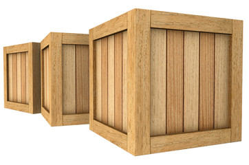 3d image of a group of wooden boxes