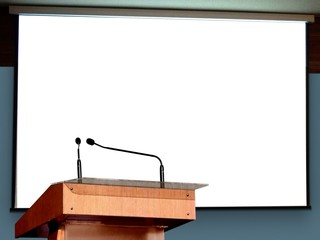 Seminar Podium with Blank Screen