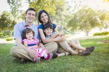 Attractive Young Mixed Race Family Park Portrait