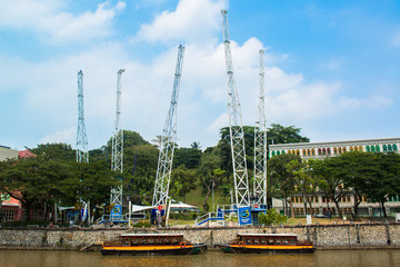 cityscape of singapore river at Boat quay