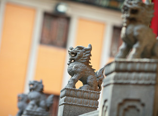 Lion statue in Chinese Temple in Hong Kong
