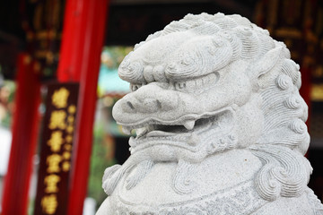 Chinese Lion statue in Wong Tai Sin Temple