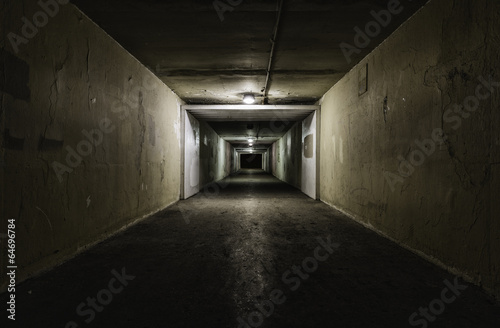 Empty tunnel at night - 64696784
