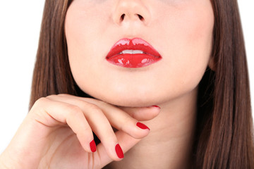Red lips and nails closeup
