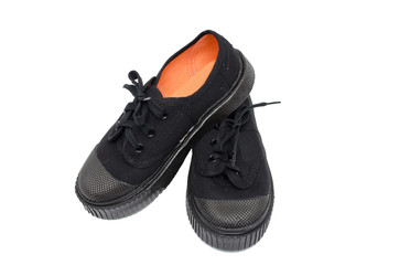 boy student black shoes with black laces on white background