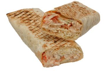 Cut shawarma or tortilla or burritos