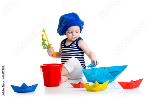Cute kid playing fishing