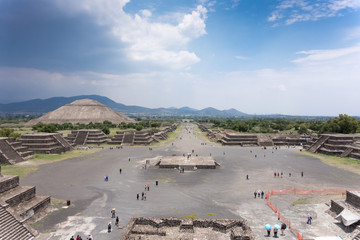 High angle view of an archaeological site, Teotihuacan, Mexico C