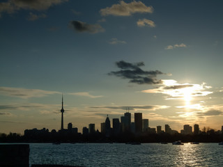 City at the waterfront, CN Tower, Lake Ontario, Toronto, Ontario