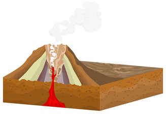 Crater volcano on a white background