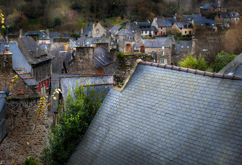 High angle view of a town, Dinan, Cotes-D'Armor, Brittany, Franc