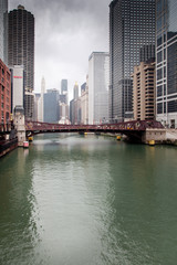 Bridge across a river in a city, La Salle Street Bridge, Chicago
