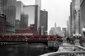 Train crossing a bridge in a city, Lake Street Bridge, Chicago R