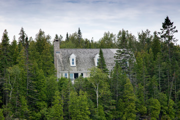 House in a forest, Tobermory, Ontario, Canada
