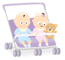 Baby twins in stroller with teddy bear
