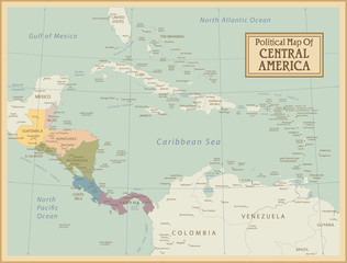Central America -highly detailed map.Layers used.