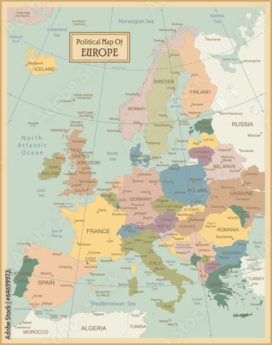 Poster Europa-highly detailed map.Layers used.