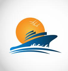 Cruise ship sun and waves logo icon vector