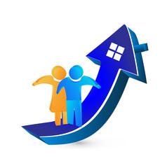 Couple buy a house real estate concept logo vector