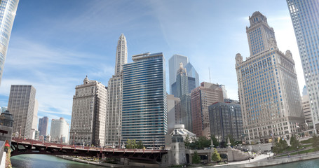 Skyscrapers in a city, La Salle Street Bridge, Chicago River, Ch