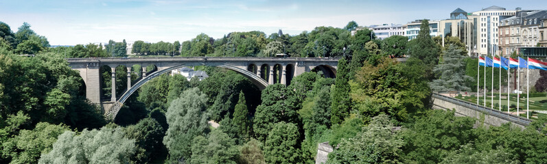 Arch bridge across a canyon, Adolphe Bridge, Luxembourg City, Lu