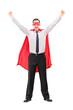 Overjoyed superhero gesturing happiness