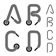 vector shoe lace alphabet letters A B C D