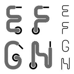 vector shoe lace alphabet letters E F G H